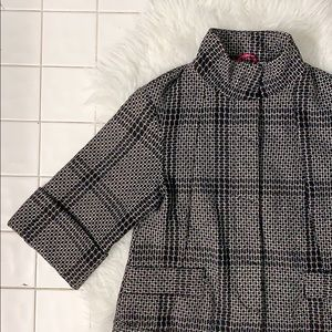 Tulle Black Plaid Coat Vintage Style Swing Coat